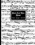 Blank Sheet Music Notebook: Black and White Musical Notes cover, 12 stave staff paper, 100 pages, A4 8.5x11 inch Music Manuscript Paper Musicians Notebook for composing music & writing music notation