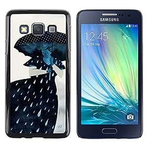 LECELL--Funda protectora / Cubierta / Piel For Samsung Galaxy A3 SM-A300 -- Rain Sad Gray Lady Woman --