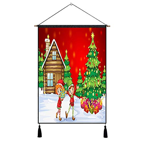 (Dolloress Home & Kitchen ⭐ 65x45CM Unframed Xmas Christmas Oil Painting Polyester Print Picture Home Room Coffee Shop Hall Wall Hanging)