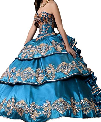 Dydsz Women's Gold Embroidery Ball Gown Long Quinceanera Prom Dresses Plus Size D135 Navyblue ()