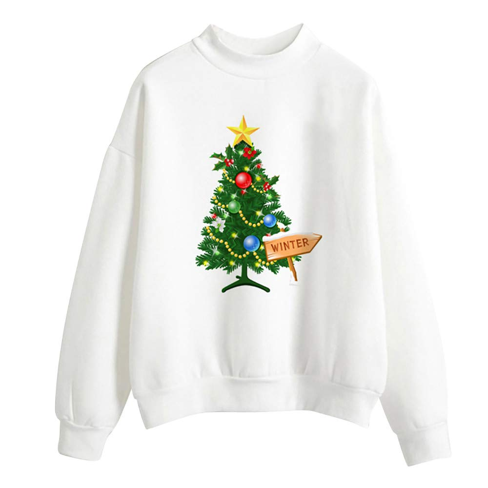 Womens Blouse Fashion Merry Christmas Tree Pullover Ladies Blouse Sweatshirt Hoodies Zulmaliu