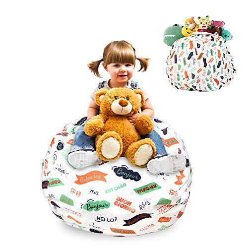 GuildreyTex, Cover Only Stuffed Animal Bean Bag Storage Chair, 100 Cotton Ultra-Thick Canvas, 27 Inch Standard Size Bean Bag Cover for Organizing Kid s Room, Pattern in 13 Languages