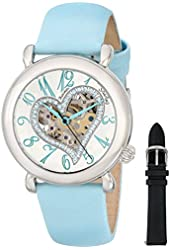 """Stuhrling Original Women's 109SW.1215C2 """"Amour"""" Stainless Steel Watch with Blue Leather Band"""