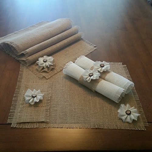 Burlap Shabby Chic Table Runners, Placemats, Silverware Holders or Napkin Rings with Handmade White Burlap Flower Accent (Quantities of 4 or 6)