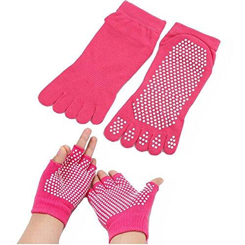 Femmes Yoga Chaussettes et gants Set avec anti patin Silicone dots Non Slip Dance Ballet Chaussettes Pour Yoga Pilates Fitness Chaussettes Femme-ROSE