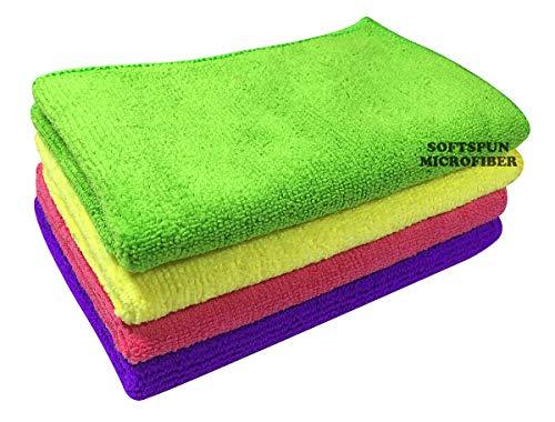 SOFTSPUN Microfiber Cloth – 4 pcs – 30×40 cms – 340 GSM Multicolor – Thick Lint & Streak-Free Multipurpose Cloths – Automotive Microfibre Towels for Car Bike Cleaning Polishing Washing & Detailing