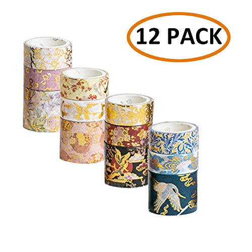 (GRT 12 Rolls Washi Tape Set, Foil Gold Skinny Decorative, DIY Masking Tape,12 Different Designs About The Imperial Palace Element, Decorative Washi Masking Tape, 15mm - 30mm Wide (Chinese Style) )