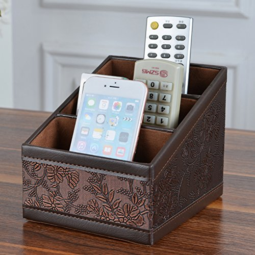 Maggift PU leather Remote Control Holder,3 Slot Remote Control Organizer Brown Photo #4