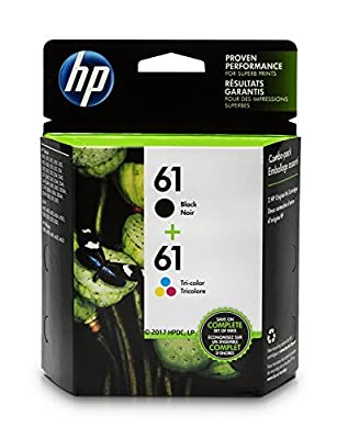 HP 61 Black & Tri-color Original Ink Cartridges, 2 pack (CR259FN)
