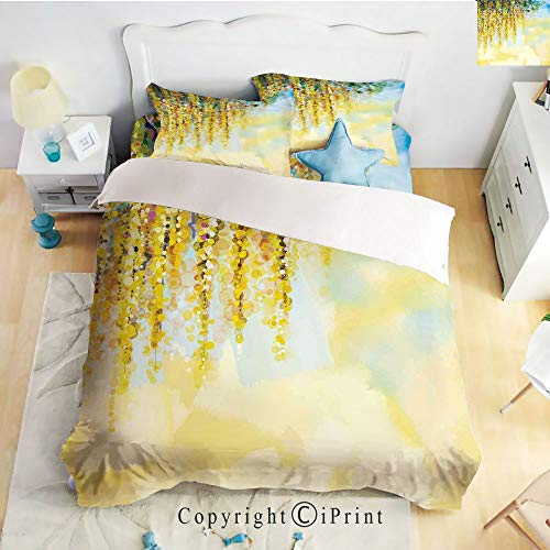 Elegant Comfort Best,Softest,Coziest 4 Piece Sheet Sets,Charms of Color Wisteria in Sunny Day Artistic Print,Yellow Light Blue Green,Full Size