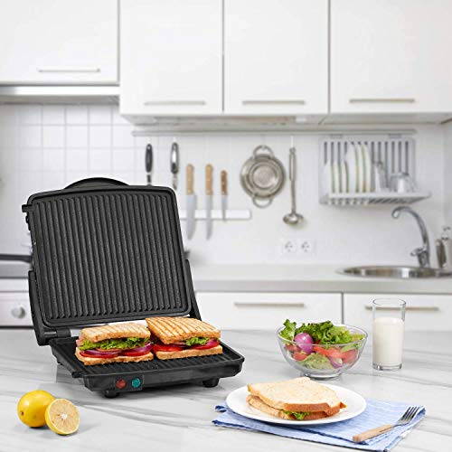 Kealive Panini Press Grill, 4-Slice Extra Large Gourmet Sandwich Maker Grill, Non-Stick Coated Plates, Opens 180 Degrees to Fit Any Type or Size of Food, Stainless Steel Surface and Drip Tray, 1200W by Kealive (Image #6)