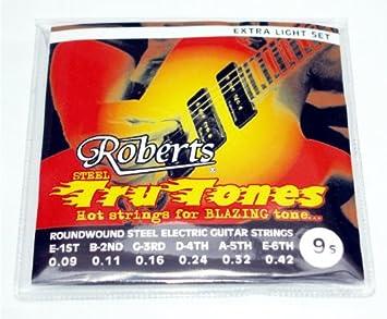 Juego de cuerdas para guitarra eléctrica de gran calibre 9s de ROBERTS: Amazon.es: Electrónica
