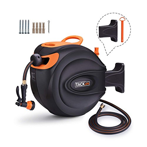 TACKLIFE Hose Reel, 65+7 FT Wall Mounted Retractable Garden Hose Reel/Include 8 Patterns Hose Nozzle/Brass Connector/Any Length Lock/Auto Rewind/180 Degree Pivot/for Garden Watering, Car Washing by TACKLIFE