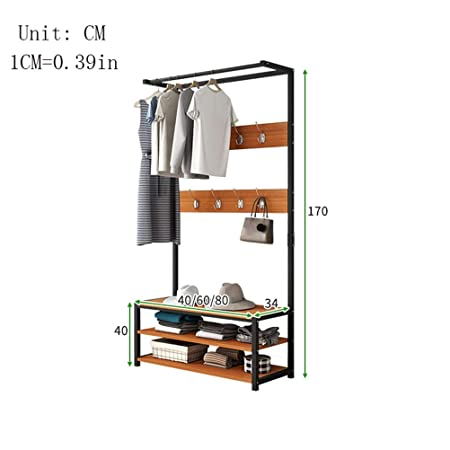Amazon.com: WYQSZ Steel Wood Bamboo Garment Rack, Floor ...