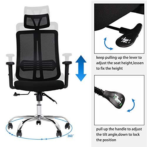 DOSLEEPS kontorsstol, justerbart nackstöd/armstöd/höjd, ergonomiskt nät högt ryggstöd hemmakontor stol (svart)