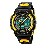 IRELOJ Kids Sports Watch Led Light Analog Digital Waterproof Alarm Watch for Boys,Yellow