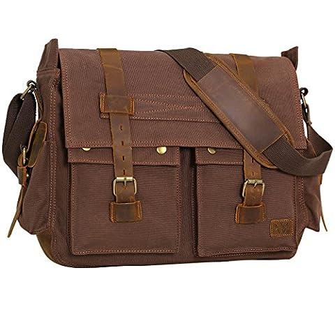 Wowbox 17 Inch Men's Messenger Bag Vintage Canvas Leather Satchel bag Military Shoulder Laptop Bags Bookbag Working Bag for Men and Women