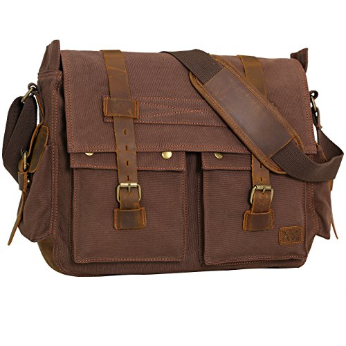 Wowbox 17 Inch Men's Messenger Bag Vintage Canvas Leather Satchel bag Military Shoulder Laptop Bags Bookbag Working Bag for Men and Women