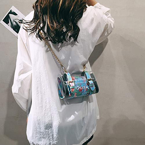 Bolso Tendencia de Contraste Color gelatina Paquete pequeña Costura de láser Cuadrada Lentejuela Bolsa Bolsa Carta Mujer Retro Transparente de impresión rqrHv