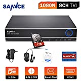 SANNCE 8CH 1080P Lite Home Security DVR Recorder with 1TB Surveillance Hard Disk Drive, Compatible with AHD/TVI/IP/CVBS Camera, Phone Remote Access