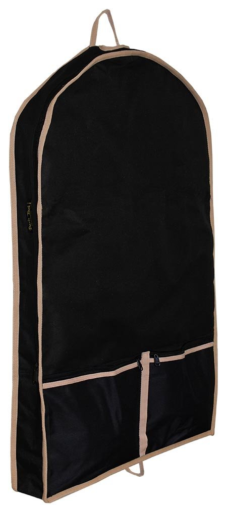 Paris Tack Front Open Garment Bag with Lining, Black