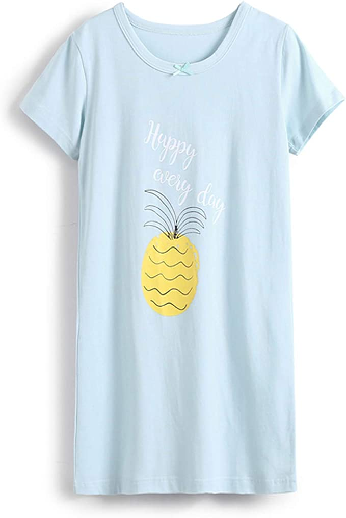 Camisón de algodón con cuello redondo para niña, diseño de frutas ...