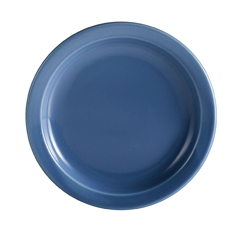 CAC China L-6NR-LB Las Vegas Narrow Rim 6-1/2-Inch Light Blue Stoneware Plate, Box of 36