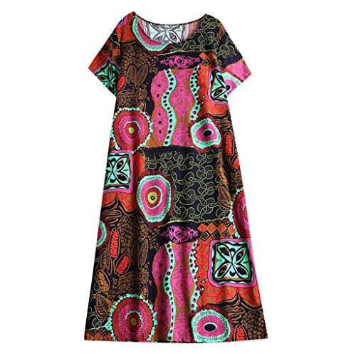 Colmkley Summer Beach Dresses for Women Sundress Boho Casual Printed Swing Loose