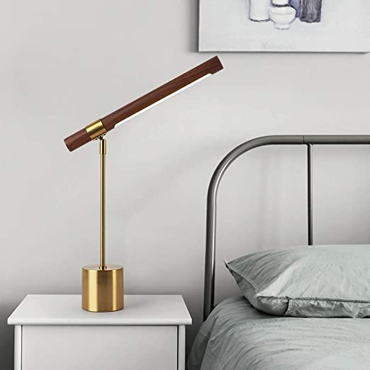 L.W.SURL Imitación de Madera Patrón LED Hardware Lámpara de Mesa ...