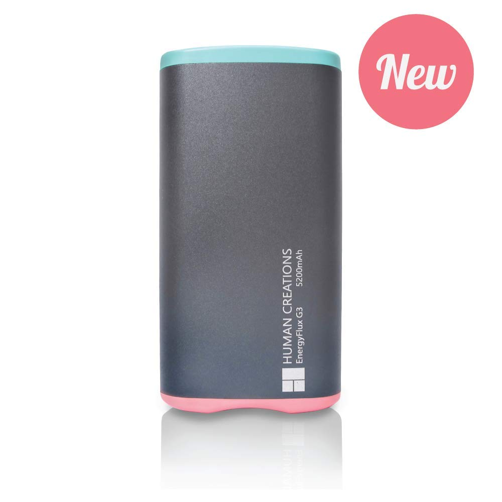 Human Creations EnergyFlux G3 Rechargeable Hand Warmer - Electric Hand Warmer with Powerbank - Wrap-Around Hot Pocket Warmer - Warm Hands for Men and Women (Turquoise-Pink, 5200mAh) by Human Creations