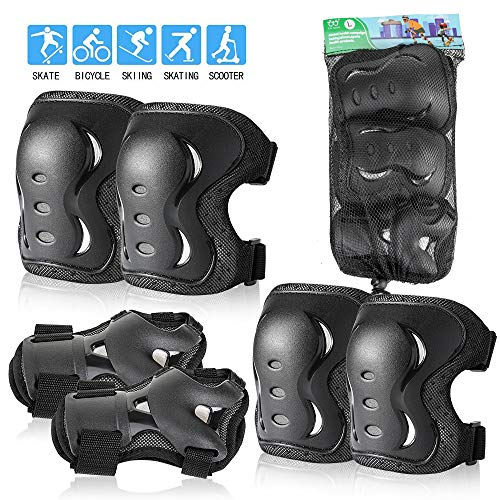 Kids/Youth/Adult Knee Pads Elbow Pads with Wrist Guards Protective Gear Set 6 Pack for Rollerblading Skateboard Cycling Skating Bike Scooter Riding Sports (Black, L/ 14 Years- Adults)