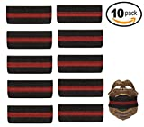 #3: 10-PACK Thin Red Line Mourning Band Black Fire Department Badge Shield Funeral Honor Guard Mourning Band Strap 3/4