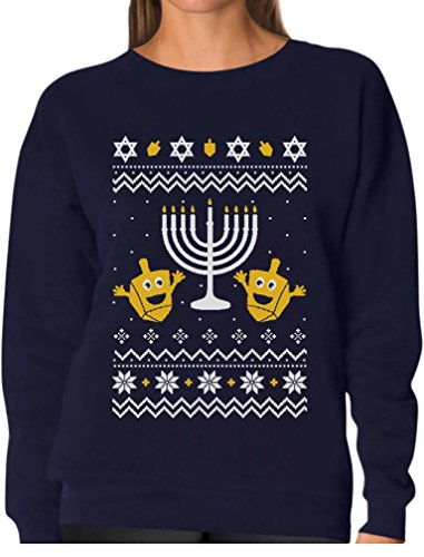 Tstars Funny Jewish Holidays Ugly Christmas Hanukkah Women Sweatshirt Medium Navy