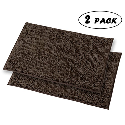 Mayshine 2 Piece 20x31 inch Non-slip Bathroom Rug Shag Shower Mat Machine-washable Bath mats with Water Absorbent Soft Microfibers of - Brown (32 Piece Display)