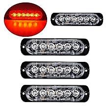 PESIC 4X Red Red LED Side Strobe Warning Emergency Caution Construction Car Truck Van Light Bar