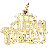 14K Yellow Gold Cuban Princess Pendant Necklace - 19 mm