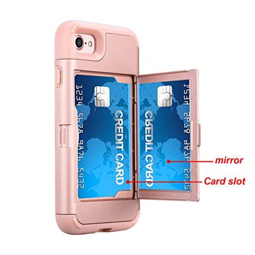 iPhone 7 / iPhone 8 Funda, FindaGift Soft TPU + PC híbrido A prueba de choques Estuche de teléfono con espejo y ranuras para tarjetas Caja del teléfono de las muchachas para iPhone 7 / iPhone 8 Cyan Oro rosa