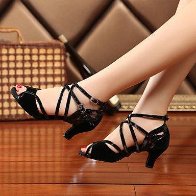 XIAMUO Nicht anpassbar - Die Frauen tanzen Schuhe Leder Leder Sekt Sekt Glitter Glitter Latin Swing Dance Schuhe Stiefel Sandalen Schuhe, Schwarz, US 9 / EU 40/UK7/CN41