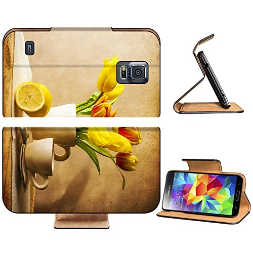 Samsung Galaxy S5 Still life with a bouquet of yellow tulips and cup of tea IMAGE 31215215 by MSD Customized Premium Deluxe Pu Leather generation Accessories HD Wifi 16gb 32gb Luxury Protector Case