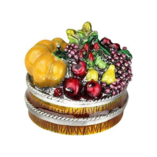 JewelryNanny Fruit Basket Trinket Box Enameled Pewter