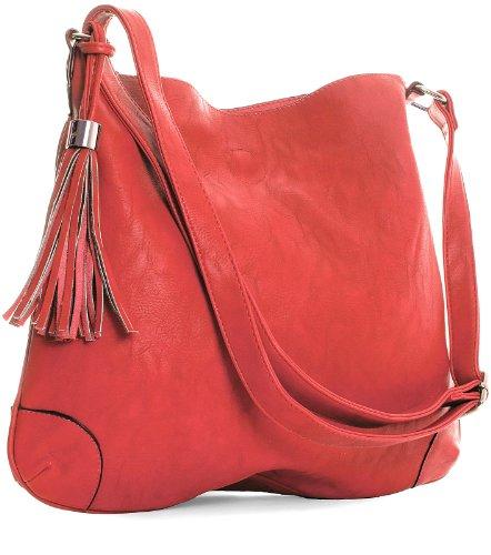 MA_B1532 Designer Inspired Slouch Inside Removable Shoulder Bag (Red), Bags Central