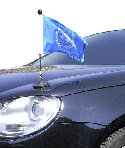 (Magnetic Car Flag Pole Diplomat-1 United Nations (UN))