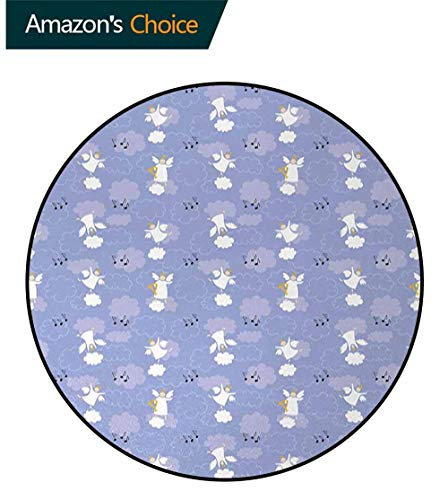 Angel Art Deco Pattern Non-Slip Backing Machine Washable Round Area Rug,Angels Playing Harp in Sky Clouds Magical Love Halo Harmony Innocence Floor Mat Home Decor Diameter-24 Inch