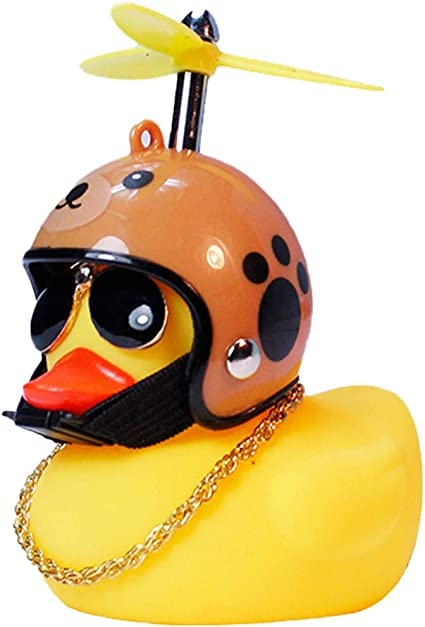 Rubber-Duck Toy Car Ornaments Yellow Duck Car Dashboard Decorations with Propell