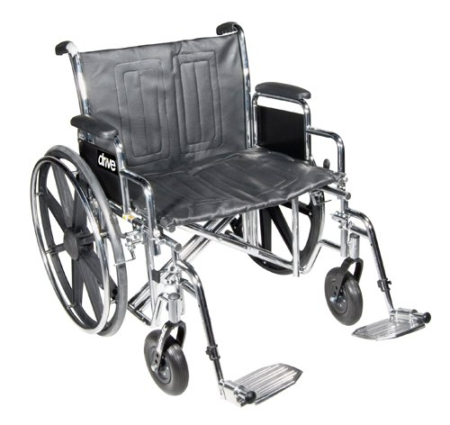 Drive Medical Sentra EC Heavy Duty Wheelchair Detachable Full Arms and Swing Away Footrests 22