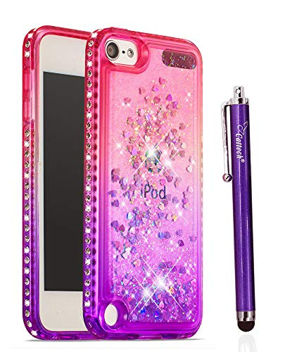 Cattech for iPod Touch 6 Case iPod Touch 5 Case Glitter Liquid Sparkle Floating Luxury Bling Quicksand [Drop Protection][Non-Slip Grip] Clear Slim Cover + Stylus (1.Pink/Purple)