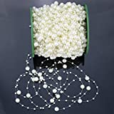 Hilitchi 200Feet Roll Ivory Pearl String Party Garland Wedding Centerpieces Bridal Bouquet Crafts Decoration (Ivory Pearl)