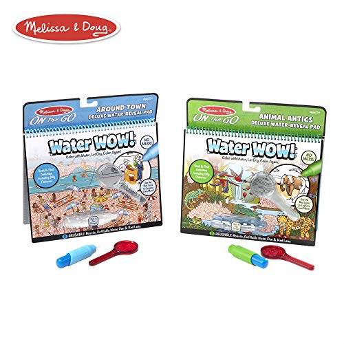 - Melissa & Doug On The Go Water Wow! Activity Pad Deluxe 2-Pack, Around Town, Animal Antics (Reusable Water-Reveal Coloring Books)