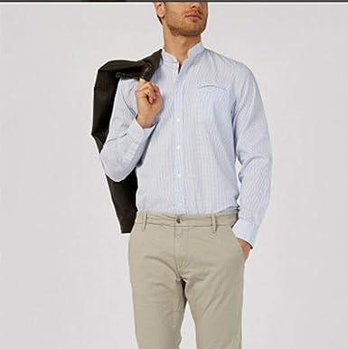 Gas Jeans mohr SS Camisa de Hombre de Manga Larga Fabricada en algodón Jacquard de Micro fantasía. Cuello Coreano, Bolsillo de Rosca en el Pecho, puños Ajustables con Doble botón. Turquesa XL: