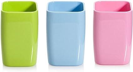 Hineway 3 X Plastic Bathroom Rinsing Mug Tumbler Water Cup Toothbrush  Holder (3 Pieces,